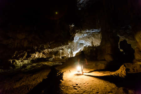 Beautiful Lod Cave in Soppong close to touristic Pai village full of rock. Tourist speleology expedition in Thailand Stock Photo