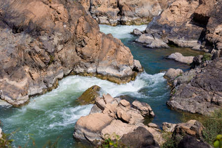 thousand: Big Li Phi waterfall in Laos - Tat Somphamit, don khone, si phan don on four thousand islands in Laos. Landscape of nature in south east asia during summer. Stock Photo
