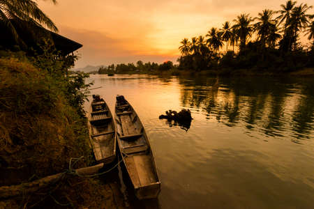Don Khone islands in south Laos. Landscape of nature taken on four thousands islands on Mekhong river in south east asia during summer sunset.