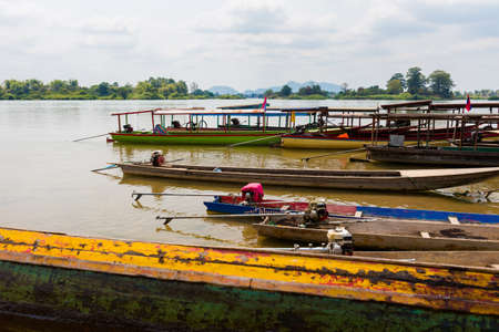 Boats on Don Det island in south Laos Editorial