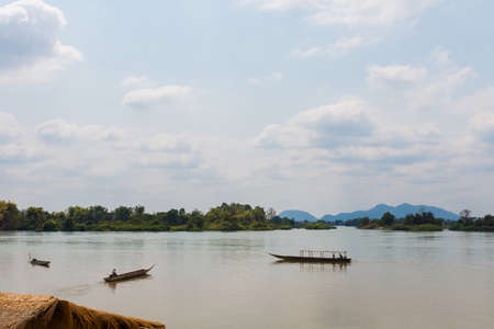 Landscape of nature taken on four thousands islands Si Phan Don on Mekhong river in south east asia during summer. Stock Photo