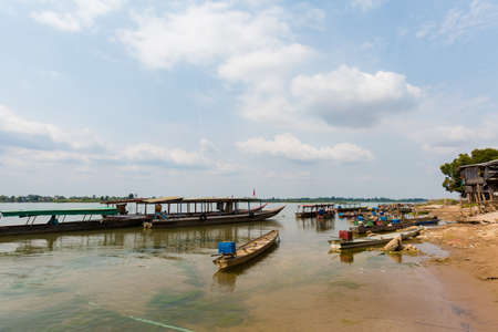 Boats on Don Det island in south Laos Banco de Imagens
