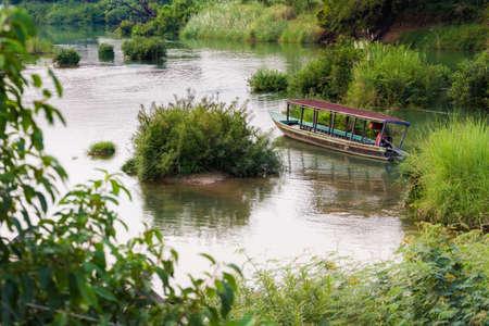 Landscape of nature on four thousands islands Si Phan Don on Mekhong river