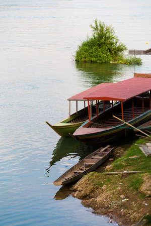 Mekhong river taken on Don Det island in south Laos. Landscape of nature on four thousands islands Si Phan Don on Mekhong river in south east asia during summer. Banco de Imagens