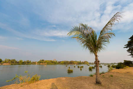 Mekhong river taken on Don Det island in south Laos. Landscape of nature on four thousands islands Si Phan Don on Mekhong river in south east asia during summer. Stock Photo