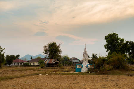 Calm village scenery of Don Det island in south Laos. Landscape of nature taken on four thousands islands Si Phan Don on Mekhong river in south east asia during summer.