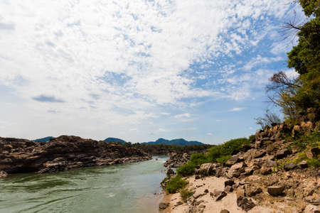 thousands: Touristic Khongyai beach on Don Khone island in south Laos. Landscape taken on four thousands islands on Mekhong river in south east asia during summer.