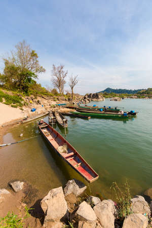 Touristic Khongyai beach on Don Khone island in south Laos. Landscape taken on four thousands islands on Mekhong river in south east asia during summer.