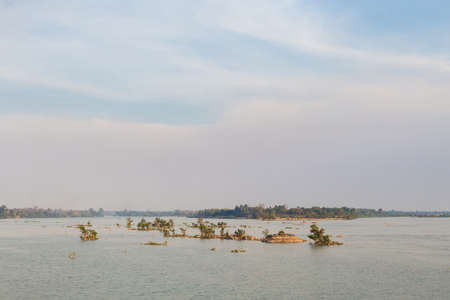 Old french port on Don Khone island in south Laos. Landscape of nature taken on four thousands islands on Mekhong river in south east asia during summer.