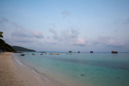 Summer landscape on tropical koh Larn island  in Thailand. Landscape with sea taken from Tawaen beach. Stock Photo