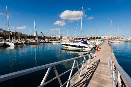 Colorful touristic landscape of Port in Msida on Malta island. Beautiful seascape in south Europe. Stock Photo