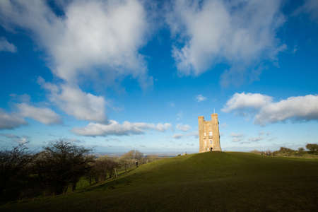 Old brick architecture Broadway tower in west England. Landmarks and beautiful european landscape.