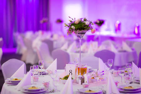 Reception tables beautifully decorated ready for wedding - Bride and Groom. Luxury concept Stock Photo