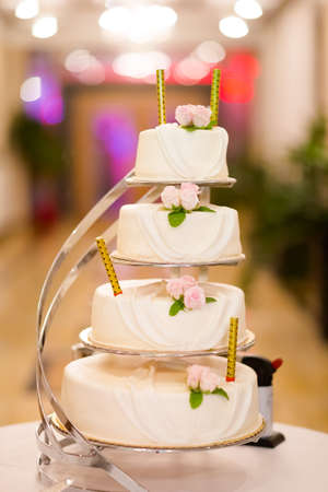 Beautiful wedding cake detail - traditional sweets to Bride and Groom.