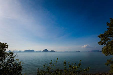 Beautiful view on Tub Kaak beach in Krabi region, Thailand. Landscape taken close to Ao Nang with blue sky and yellow sand.
