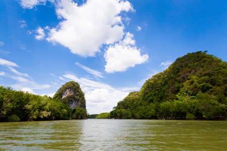 View on Khao Khanab Nam mountains in Krabi in southern Thailand. Landscape taken in beautiful mangrove forest and Pak Nam river in south east Asia.