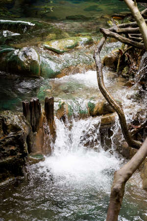 Krabi hot springs waterfall in southern Thailand. Landscape taken in beautiful reserve in south east Asia. Stock Photo