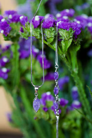 Beautiful necklace and bracelete jewellery of the Bride before wedding - romantic detail