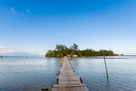 Landscape with bridge to Mot Island on tropical Phu Quoc, Bai Thom area, Vietnam.