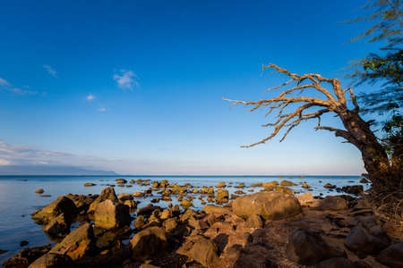 Summer seascape on tropical Phu Quoc island, Bai Thom area in Vietnam. Landscape taken on Hon Mot with blue sky - Cambodia view Stock Photo