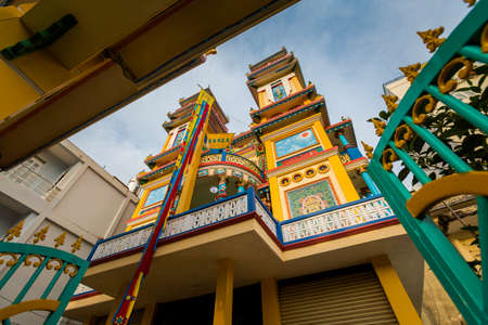Caodaist temple in Duong Dong village, Phu Quoc island in Vietnam. Colorful details.