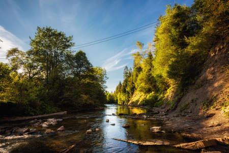 Beautiful vivid lanscape by Wetlina river in polish Bieszczady mountains during summer. Foto de archivo