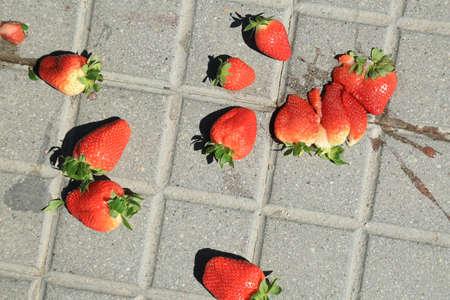 Red ripe smashed strawberries on grey concrete paving slab. Stock Photo
