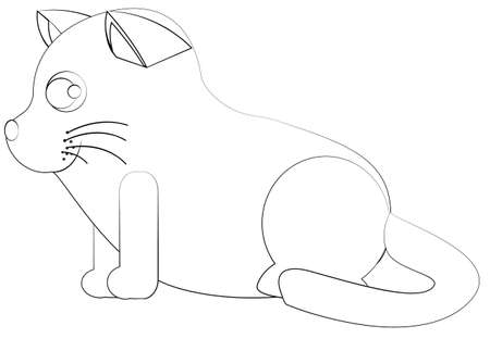 whisker characters: Vector illustration kitten is watching