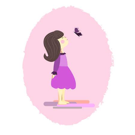 springtime: Vector illustration lovely girl in pink dress and butterfly. Illustration