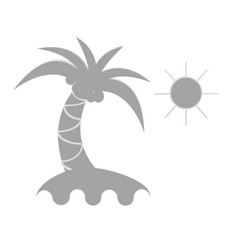 beach sunset: vector illustration the land and palm. Illustration