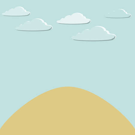 Vector illustration the land and clouds.