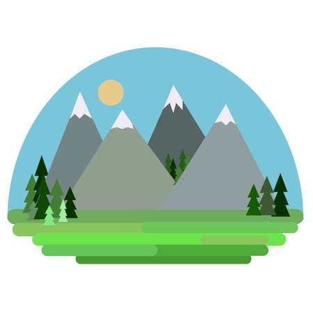 Vector illustration colourfull landscape with mountains.