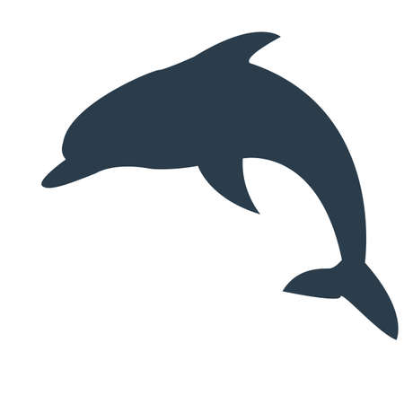 Vector illustration dolphin in the sea. Çizim