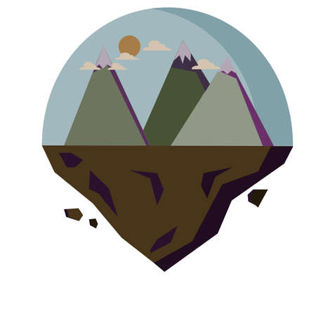 Vector illustration colorful landscape with mountains.