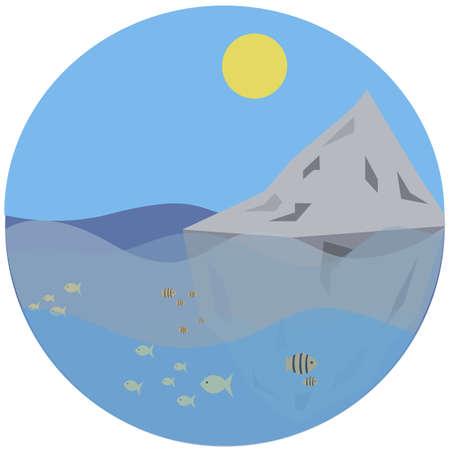 Vector illustration ocen and mountain