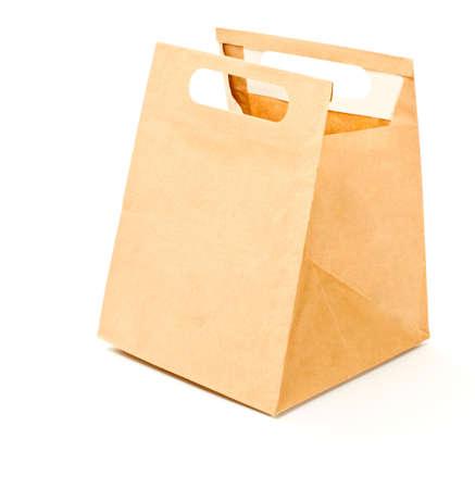 mochila escolar: Bolsa de papel marr�n aislado almuerzo
