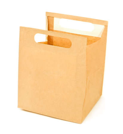 Open paper brown lunch bag isolated photo