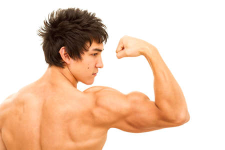 bicep: Close up of mans arm showing biceps. Isolated on white. Stock Photo