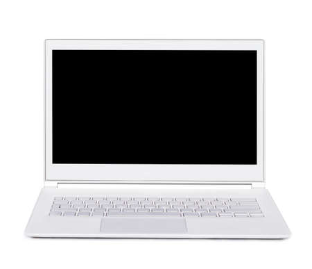 ultra: Silver portable ultra thin computer  Isolated  Front view
