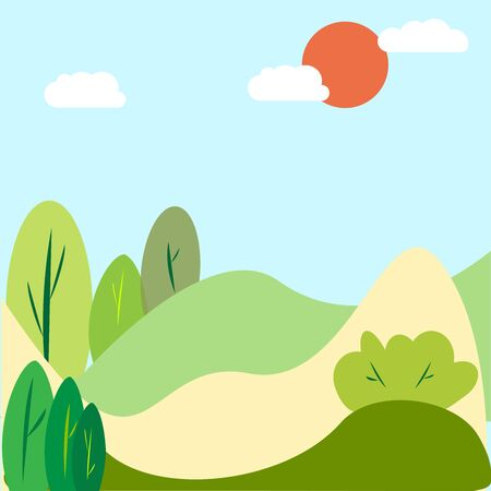 Travel background.Landscape summer trees.Increases conversion banner.  Vector illustration. Spring background.  Nature landscape.