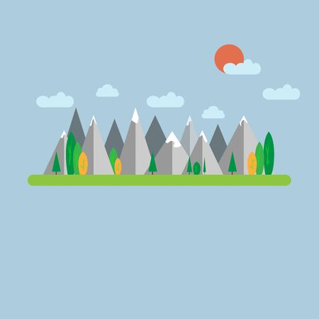 The mountains landscape, great design for any purpose. Mountain forest landscape. Vector illustration background. Sky clouds. Colorful nature background. Landscape tourism. Summer background.