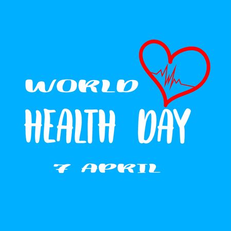Vector world health day design concept. April 7. Heart and with cardiogram. Hand drawn design.Modern web template for poster, banner, advertisement. Medicine idea.