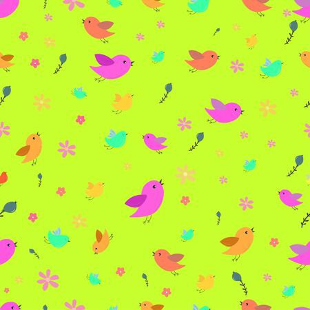 Cute birds seamless pattern with little flowers.Creative art, modern design concept.Vector. Cute birds, background for design for different purposes: for packaging, for textiles, for children. Spring. Scandinavian style. Charming characters