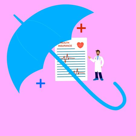 Health insurance concept.Doctor Character stand near Health Insurance Contract. Big clipboard with document on it under the umbrella. Healthcare, finance and medical service.
