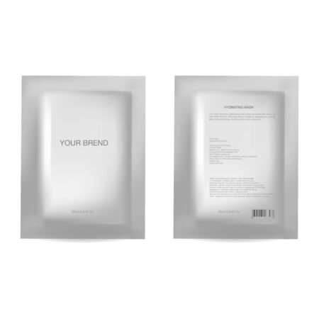 Vector realistic blank package, disposable foil sachet for facial mask or shampoo, isolated on background. Cosmetic product for face care, skin treatment. Mockup for brand promotion, packaging design 矢量图像