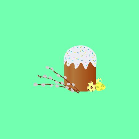 Vector illustration.Easter cake with colorful sprinkles isolated . sticker pack. Happy easter symbol Easter cake .Holiday sweet food.