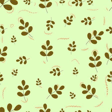 Environmental seamless pattern with leaves.Hand drawn seamless floral pattern. Endless texture can be used for wallpaper, textile, pattern fills, web page background.
