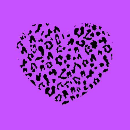 Heart with leopard print texture . Monochrome black white