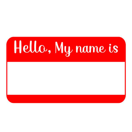 Red name tag empty sticker HELLO my name is