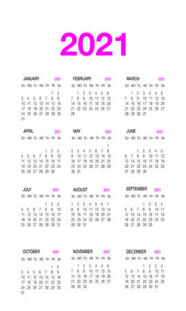 Calendar 2021 template planner in minimal style.12-month annual timetable Ilustración de vector
